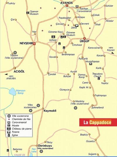Carte de la Cappadoce Turquie